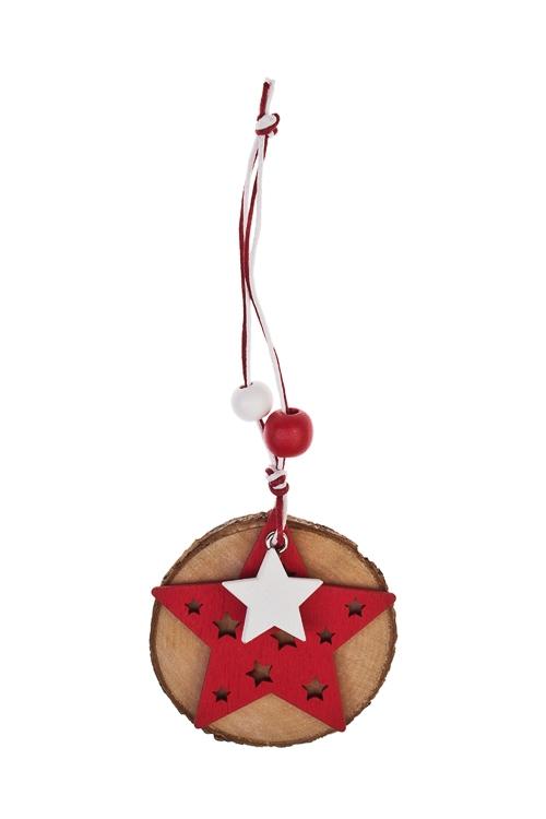 Украшение новогоднее Символ праздникаЕлочные игрушки<br>Д=6см, дерево, подвесное (3 вида)<br>