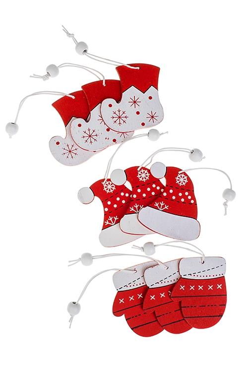Набор украшений нов Варежки, шапочки, сапогиЕлочные игрушки<br>9-предм., Выс=7см, дерево, красно-белый, подвес.<br>