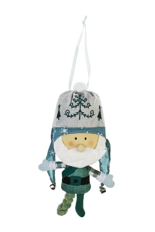 Украшение новогоднее Милый дедуляЕлочные игрушки<br>Выс=25см, текстиль, изумрудно-крем., подвесное, ручная работа<br>