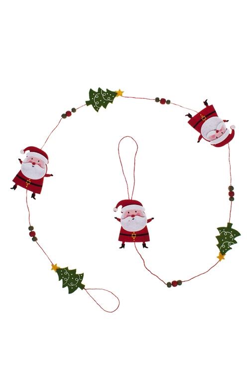 """Украшение новогоднее """"Гирлянда - Деды Морозы с елками"""" - 1"""