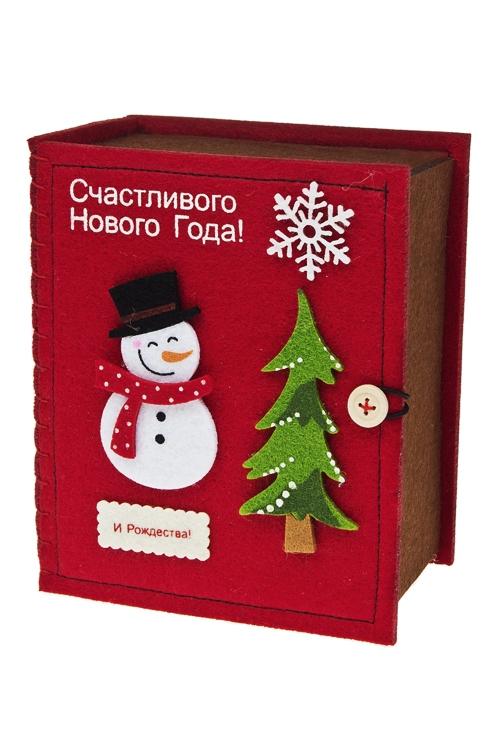 Шкатулка СнеговикШкатулки для украшений<br>14*9*17см, фетр, разноцв.<br>