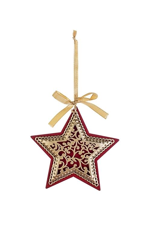 Украшение новогоднее Новогодняя подвескаСувениры и упаковка<br>Выс=9см, металл, малин.-серебр., подвесное (3 вида)<br>