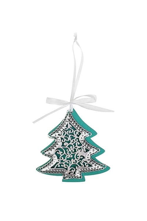 Украшение новогоднее Новогодняя подвескаДекоративные гирлянды и подвески<br>Выс=9см, металл, бирюз.-серебр., подвесное (3 вида)<br>