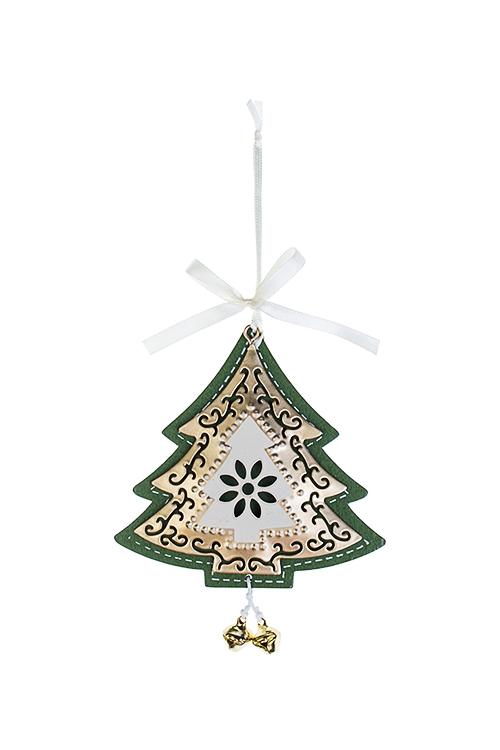 Украшение новогоднее Яркая елочкаСувениры и упаковка<br>Выс=11см, металл, мятно-крем.-золот., подвесное<br>