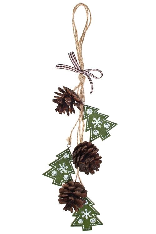 Украшение новогоднее Елочки с шишкамиСувениры и упаковка<br>Дл=35см, дерево, зеленое, подвесное<br>