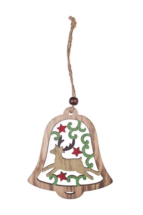 Украшение новогоднее Новогодняя подвескаЕлочные игрушки<br>Выс=19см, дерево, бело-красно-коричн., подвес. (3 вида)<br>