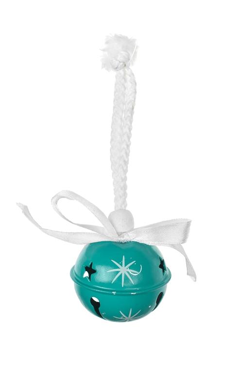 Украшение новогоднее Новогодний колокольчикЕлочные игрушки<br>Выс=11см, металл, бело-бирюз., подвесное<br>