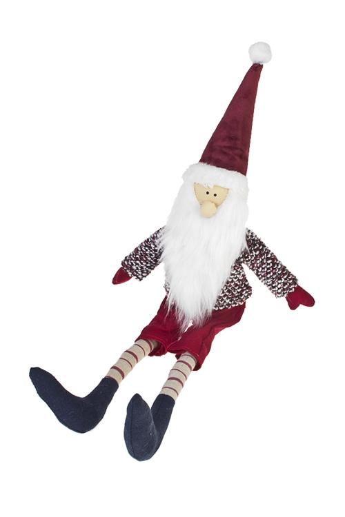 Украшение новогоднее Гномик в шапочкеНовогодние сувениры<br>Выс=40см, текстиль, крас.-борд., подвес. (2 вида), ручн. раб.<br>