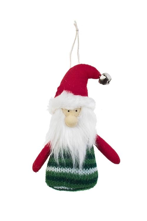 Украшение новогоднее Дед МорозТекстильные игрушки<br>Выс=14см, текстиль, красно-зеленое, подвесное (2 вида), ручн.раб.<br>