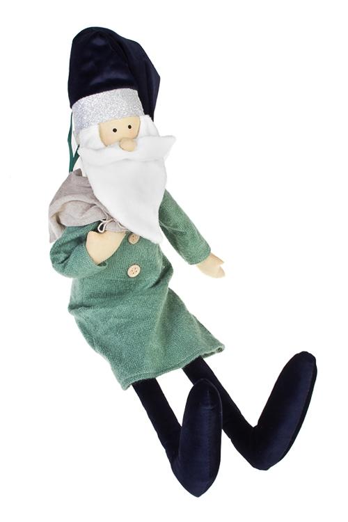 Украшение новогоднее Дедушка МорозНовогодние сувениры<br>Выс=55см, текстиль, сине-изумрудн., подвес. (2 вида), ручн. раб.<br>