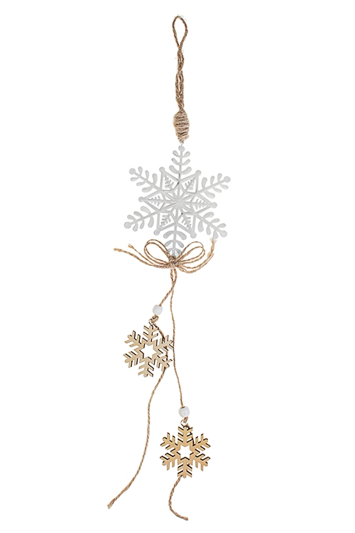 Украшение новогоднее Россыпь снежинокСувениры и упаковка<br>Выс=33см, металл, дерево, бело-крем., подвесное<br>