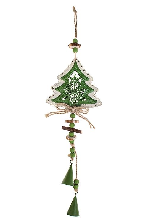 Украшение новогоднее Елочка с колокольчикамиСувениры и упаковка<br>Выс=33см, металл, дерево, зелено-крем., подвесное<br>