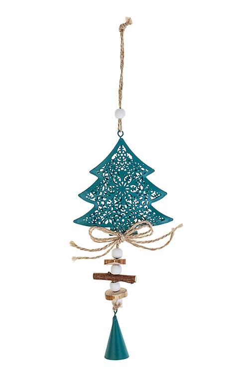 Украшение новогоднее Ель со снежным узоромДекоративные гирлянды и подвески<br>Выс=21см, металл, дерево, изумрудное., подвесное<br>