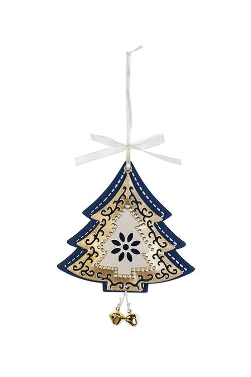 Украшение новогоднее Яркая елочкаСувениры и упаковка<br>Выс=11см, металл, сине-крем.-золот., подвесное<br>