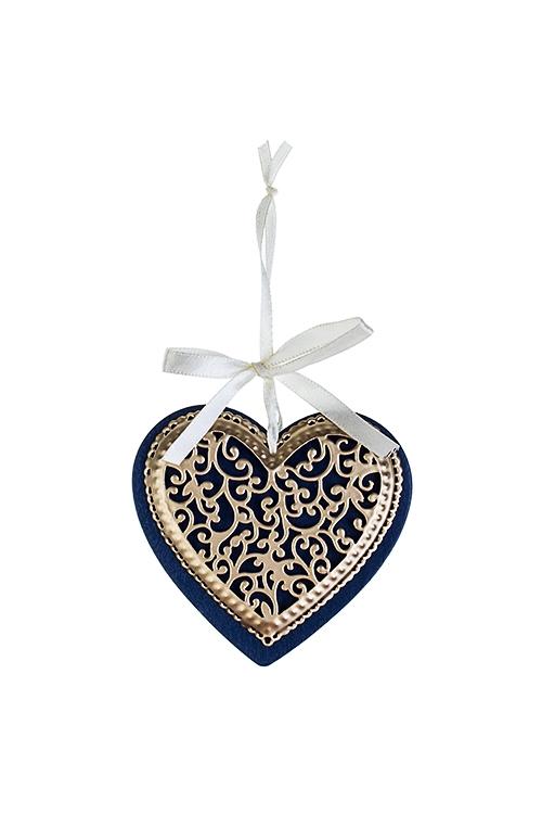 Украшение новогоднее Новогодняя подвескаСувениры и упаковка<br>Выс=9см, металл, сине-голуб.-золот., подвесное (3 вида)<br>