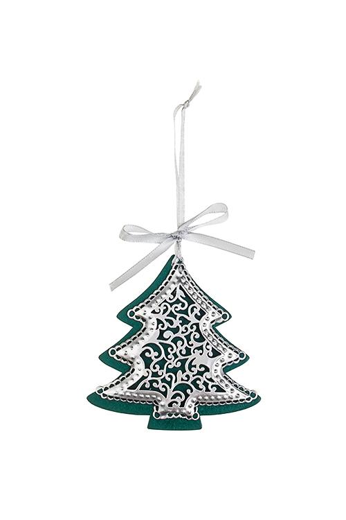 Украшение новогоднее Новогодняя подвескаДекоративные гирлянды и подвески<br>Выс=9см, металл, серебр.-сирен.-фиолет., подвесное (3 вида)<br>