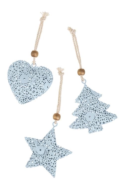 Набор украшений новогодних Ажурная подвескаДекоративные гирлянды и подвески<br>3-предм., Выс=7см, металл, голубой, подвесной<br>