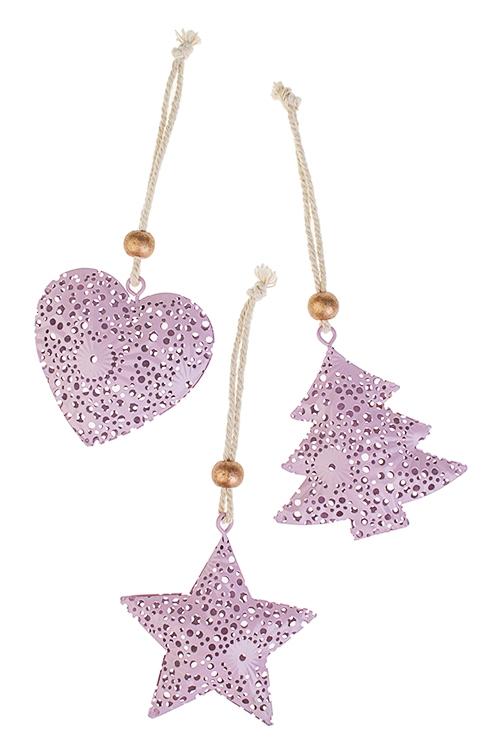 Набор украшений новогодних Ажурная подвескаСувениры и упаковка<br>3-предм., Выс=7см, металл, розовый, подвесной<br>