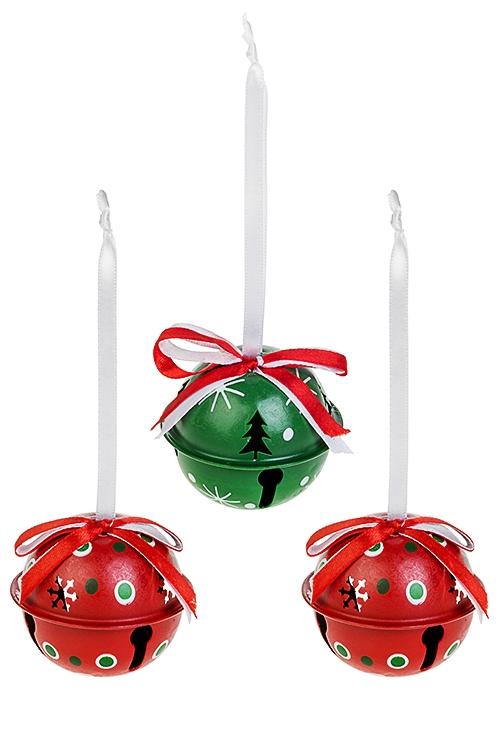 Набор украшений новогодних Новогодние бубенцыСувениры и упаковка<br>3-предм., Д=6см, металл, красно.-бело-зелен., подвесной<br>