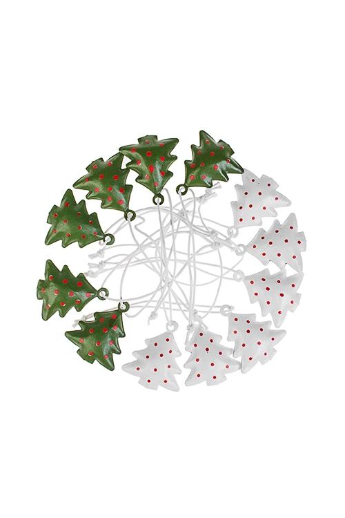 Набор украшений новогодних Елочки в горошекСувениры и упаковка<br>12-предм., Выс=10см, металл, бело-зеленый, подвесной<br>