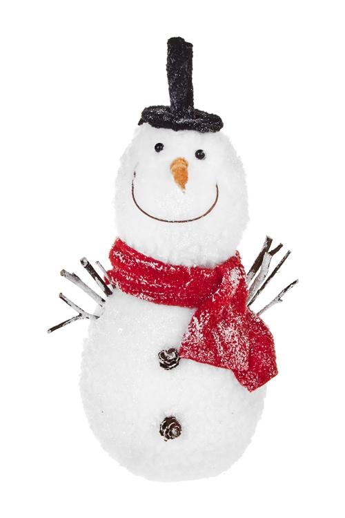 Украшение новогоднее Веселый снеговикНовогодние сувениры<br>Выс=27см, текстиль, пластм., натур. матер.<br>