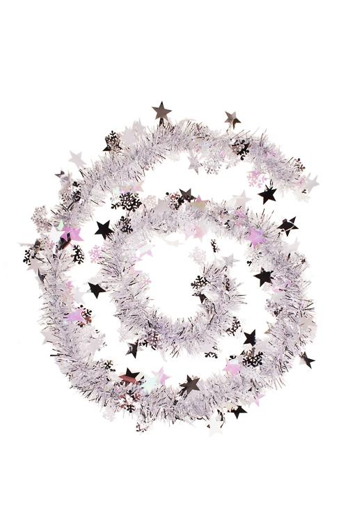 Мишура Мишура, Дл=2м, Ш=7см, фольга блестящая, серебр., со звездочкамиЕлочные гирлянды и верхушки<br>Дл=2м, Ш=7см, фольга блестящая, серебр., со звездочками<br>