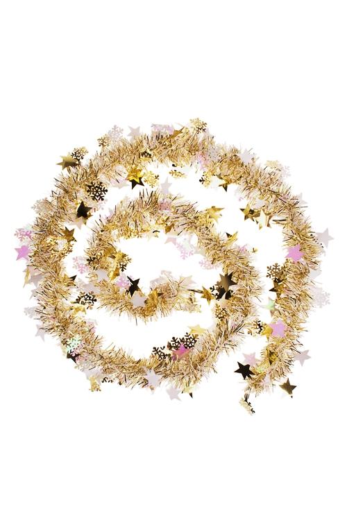 Мишура Мишура, Дл=2м, Ш=7см, фольга блестящая, золот., со звездочкамиЕлочные гирлянды и верхушки<br>Дл=2м, Ш=7см, фольга блестящая, золот., со звездочками<br>