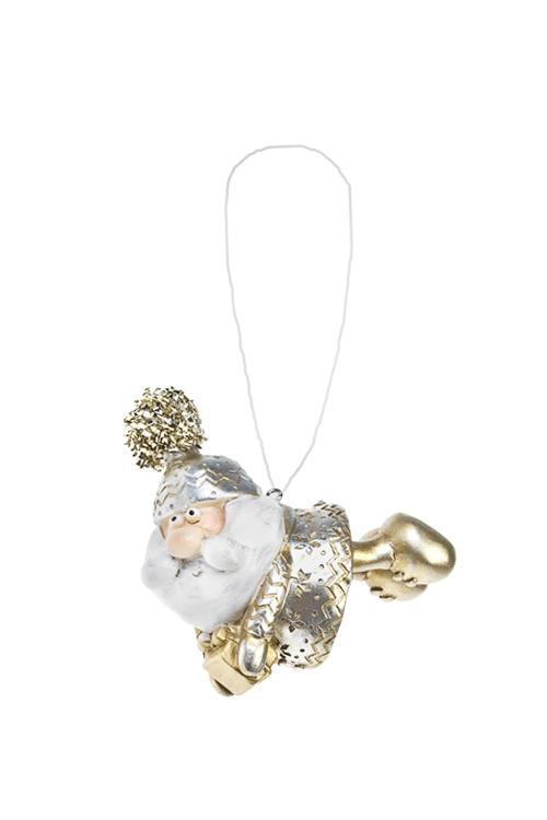 Украшение новогоднее Смешной Дед МорозПодарки<br>Выс=10см, полирезин, золот., подвесное (2 вида)<br>