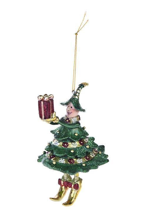 Украшение новогоднее Девочка в костюме елкиПодарки<br>15*7.5см, полирезин, зелено-борд., подвесное<br>