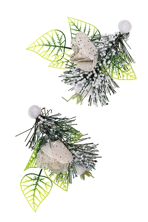 Украшение новогоднее Заснеженные цветыВыс=10см, пенопласт, пластм., белый, подвесной<br>