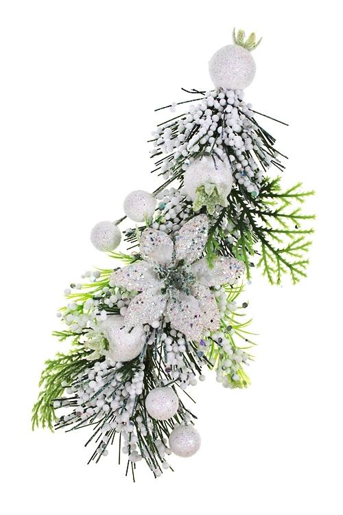 Украшение новогоднее Ягоды и цветыПодарки<br>Выс=18см, пенопласт, пластм., белый, подвесной<br>