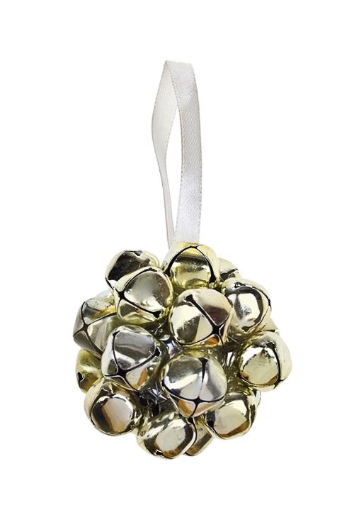 Украшение новогоднее Шар из бубенчиковЕлочные игрушки<br>Д=6см, металл, золот., подвесное<br>