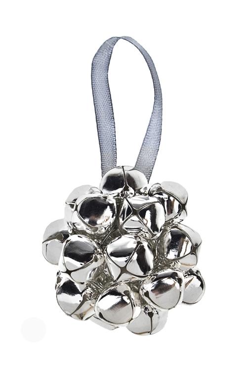 Украшение новогоднее Шар из бубенчиковПодарки<br>Д=6см, металл, серебр., подвесное<br>