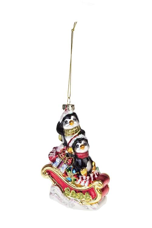 Украшение елочное Пингвины на санях с подаркамиПодарки<br>Выс=13см, стекло, разноцв.<br>