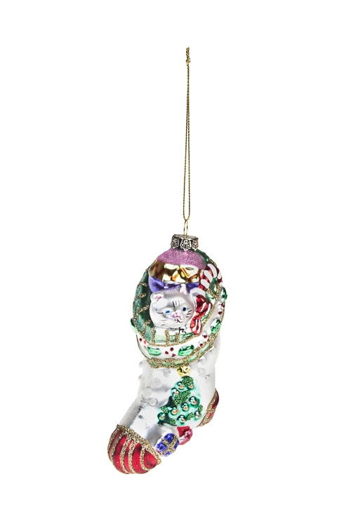 Украшение елочное Котенок в носкеЕлочные игрушки<br>Выс=11см, стекло, разноцв.<br>