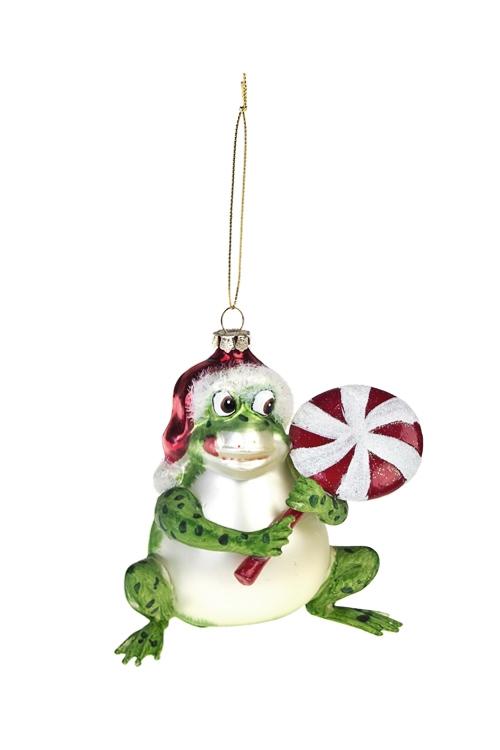 Украшение елочное Лягушка с леденцомЕлочные игрушки<br>Выс=11см, стекло, полирезин, зелено-красное<br>