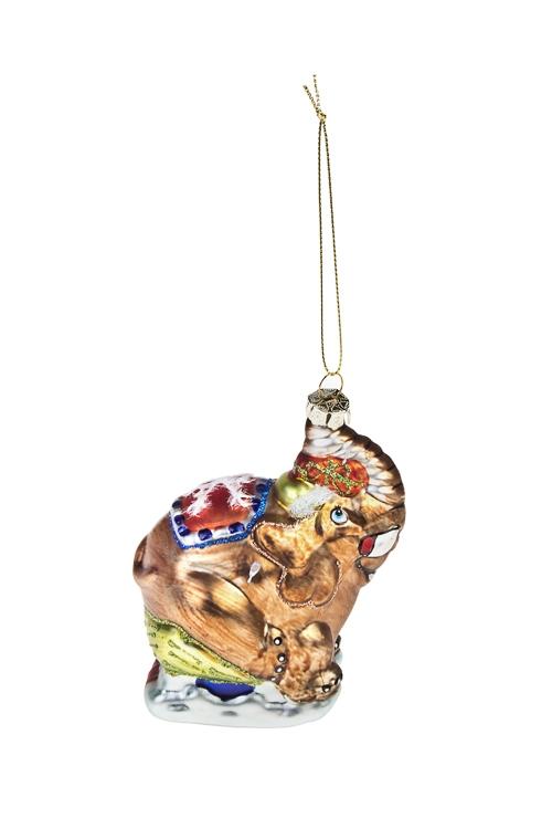 Украшение елочное Веселый слоникЕлочные игрушки<br>Выс=11см, стекло, разноцв.<br>