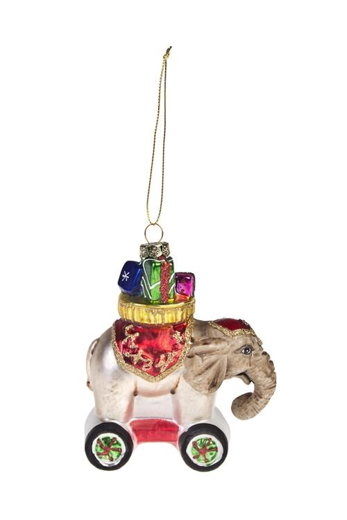 Украшение елочное Цирковой слоникПодарки<br>9*11м, стекло, разноцв.<br>