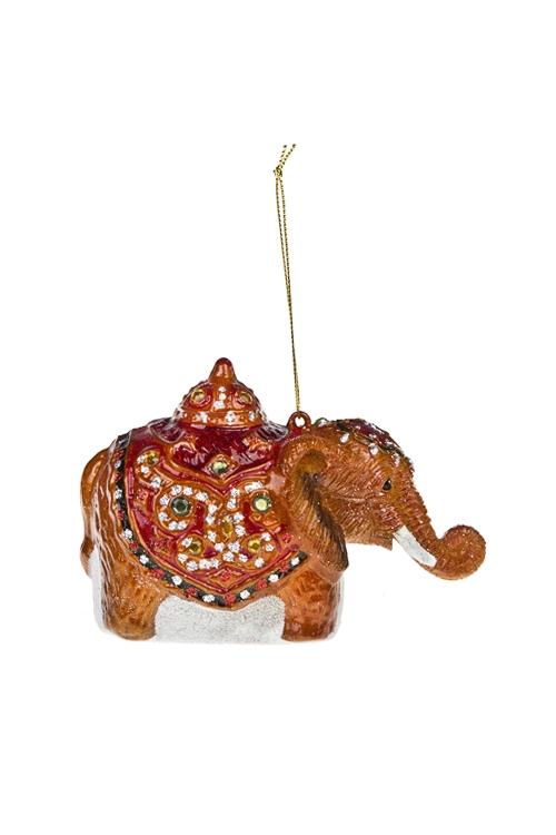 Украшение елочное Индийский слоникЕлочные игрушки<br>13*9см, стекло, полирезин, разноцв.<br>