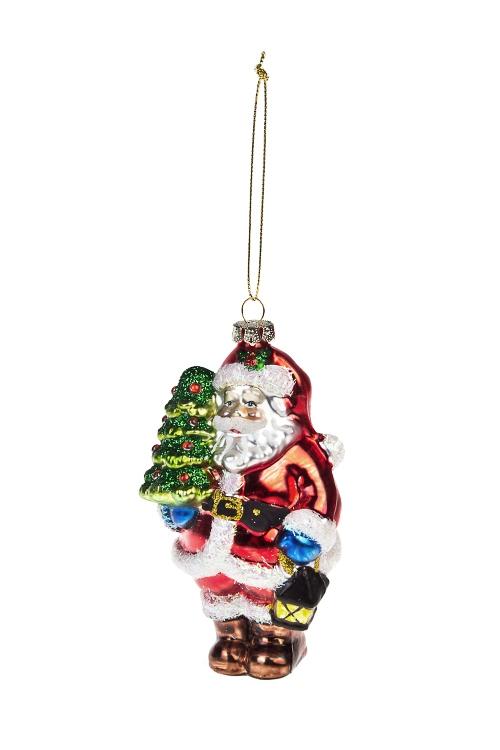 Украшение елочное Дед Мороз с елочкой и фонарикомЕлочные игрушки<br>Выс=13см, стекло, разноцв.<br>