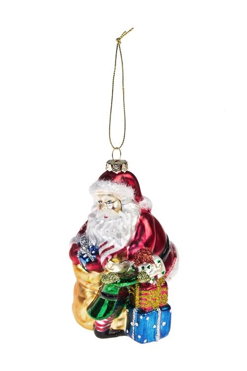 Украшение елочное Дед Мороз с малышомПодарки<br>Выс=12см, стекло, разноцв.<br>