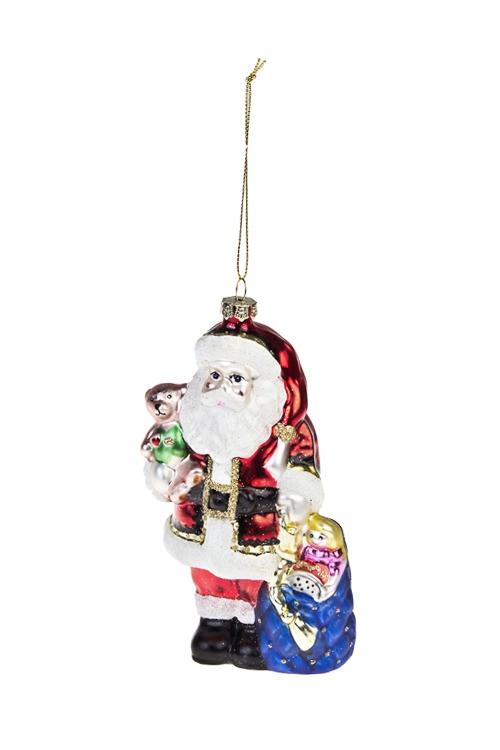 Украшение елочное Дед Мороз с мишкой и подаркамиПодарки<br>Выс=15см, стекло, разноцв.<br>