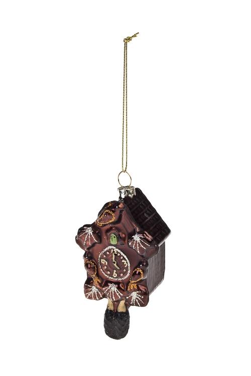 Украшение елочное Часы с кукушкойПодарки<br>Выс=10см, стекло, коричн.<br>