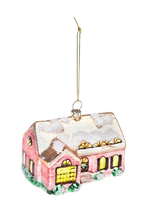 Украшение елочное Заснеженный домикЕлочные игрушки<br>11*7см, стекло, разноцв.<br>