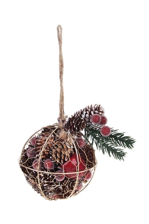 Украшение новогоднее Шарик с шишками и ягодкамиЕлочные игрушки<br>Д=10см, металл, натур. матер, подвесное<br>