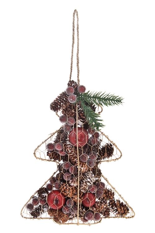 Украшение новогоднее Елочка с шишками и ягодкамиЕлочные игрушки<br>6*19*23см, металл, натур. матер, подвесное<br>