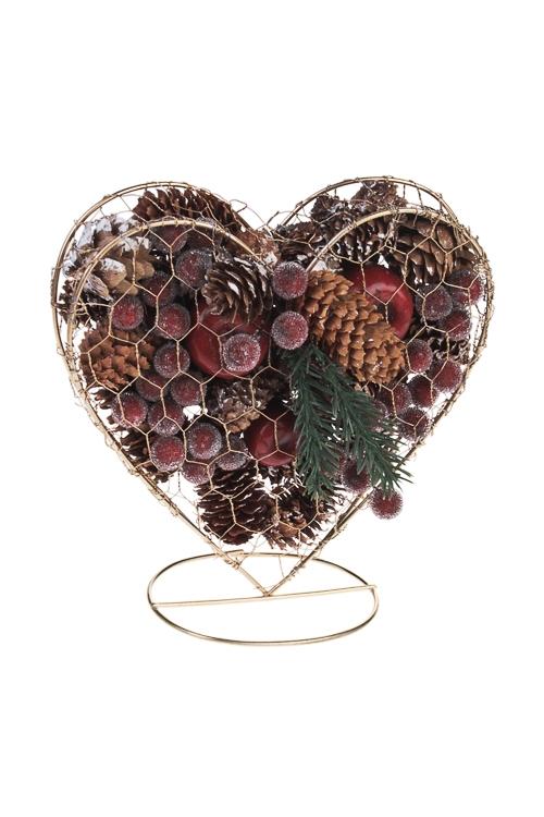 Украшение для интерьера Сердце с шишками и ягодкамиНовогодние украшения и статуэтки<br>17*6*17см, металл, натур. матер.<br>