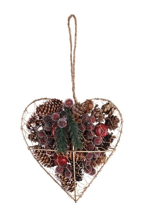 Украшение для интерьера Сердце с шишками и ягодкамиПодарки<br>18*6*18см, металл, натур. матер, подвесное<br>