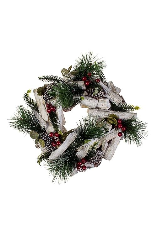 Венок Лесная сказкаПодарки на Новый год 2018<br>Д=24см, натур. матер., металл, подвесное<br>