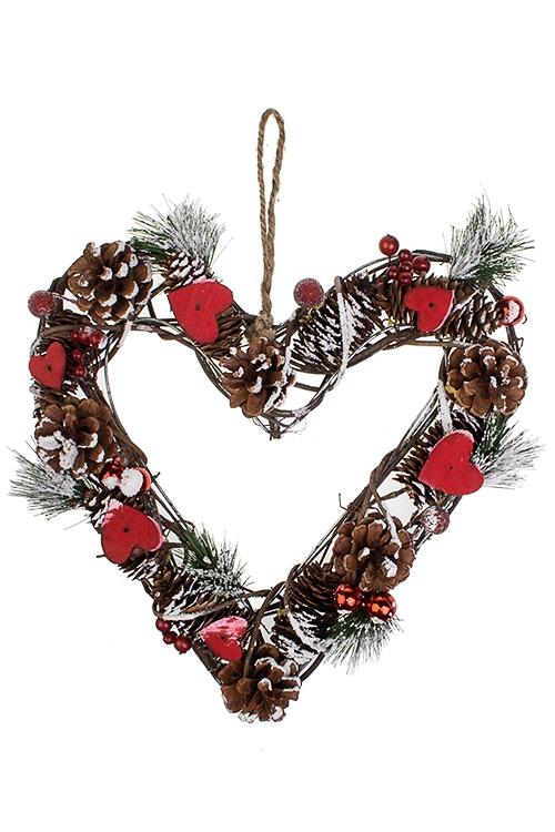 Украшение для интерьера Венок - СердцеПодарки на Новый год 2018<br>30*31см, натур. матер., подвесное<br>